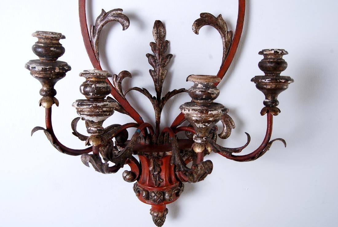 Italian Vintage Iron and Wood 4-light Sconce, Width: - 7