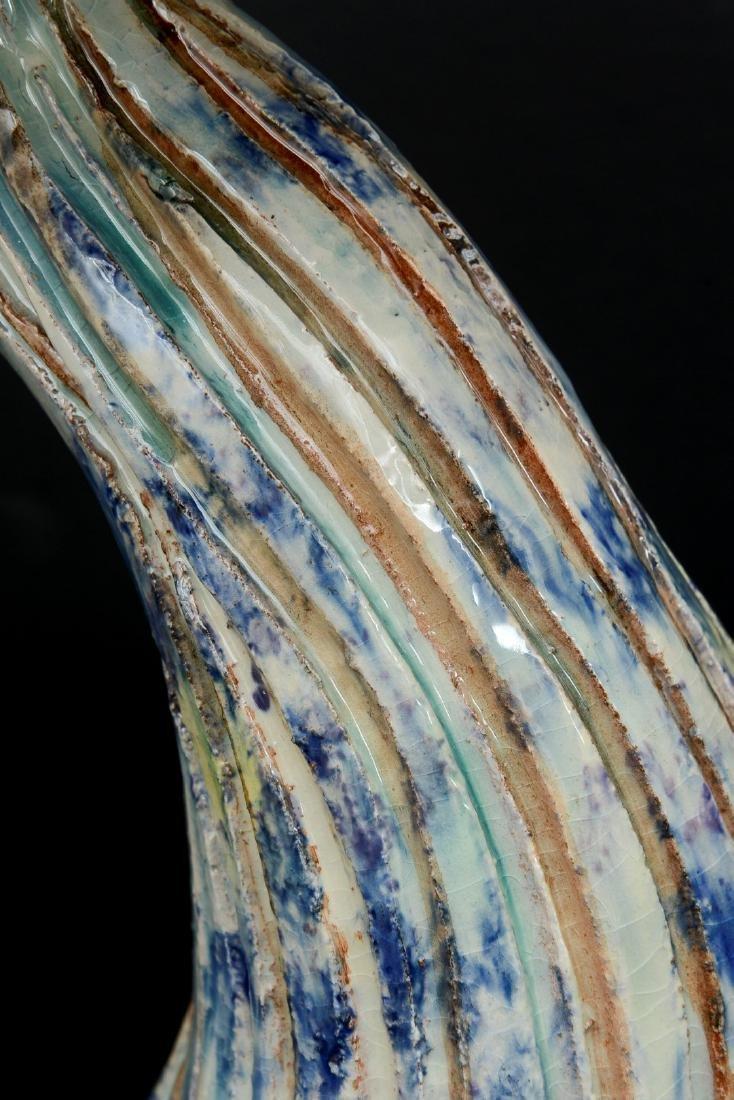 """Algue Mauve"""" Majolica Sculpture by Christine Viennet. - 10"""