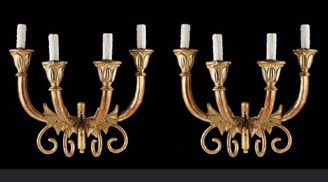 Pair of Italian Antique Giltwood Scroll Sconces, Width: