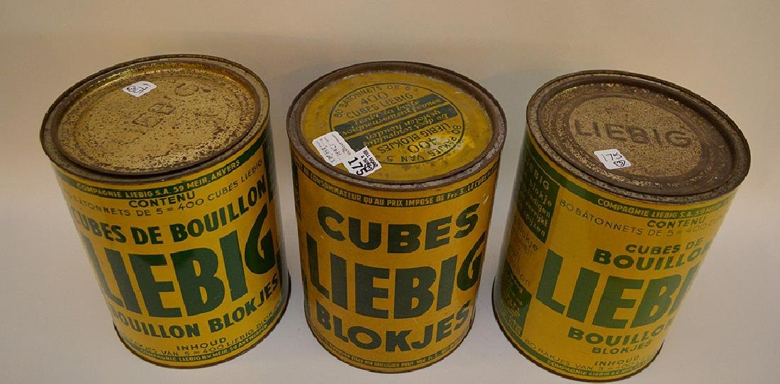 "Set of Three Vintage Belgian Tin Can, ""Liebig Cubes"", - 2"