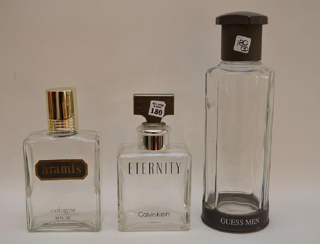 3 Factice bottles, Eternity, Aramis and Guess Men, 9