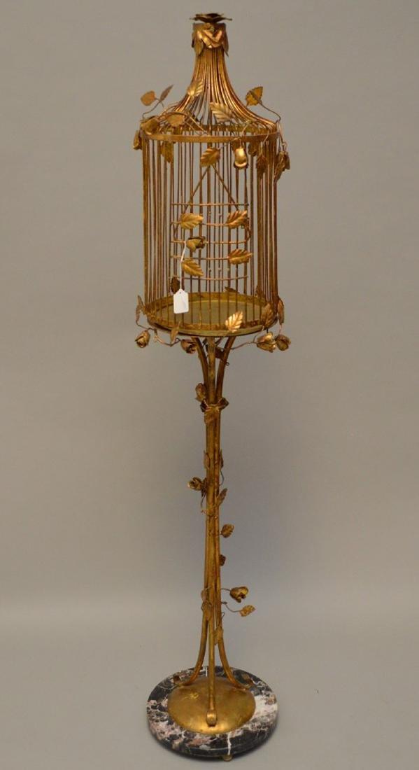 "Gilded metal ""Hollywood Regency"" standing birdcage,"