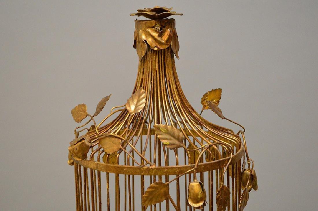 "Gilded metal ""Hollywood Regency"" standing birdcage, - 3"