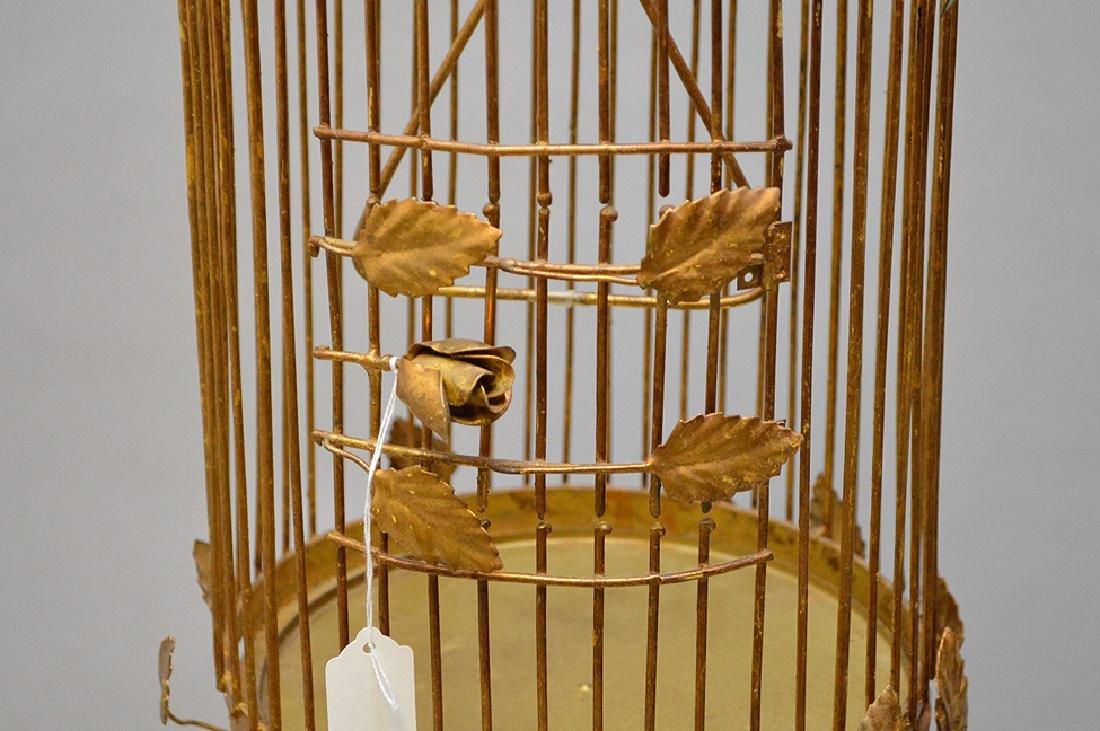 "Gilded metal ""Hollywood Regency"" standing birdcage, - 4"