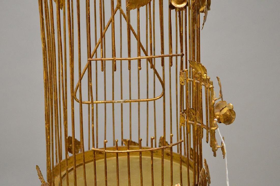 "Gilded metal ""Hollywood Regency"" standing birdcage, - 5"