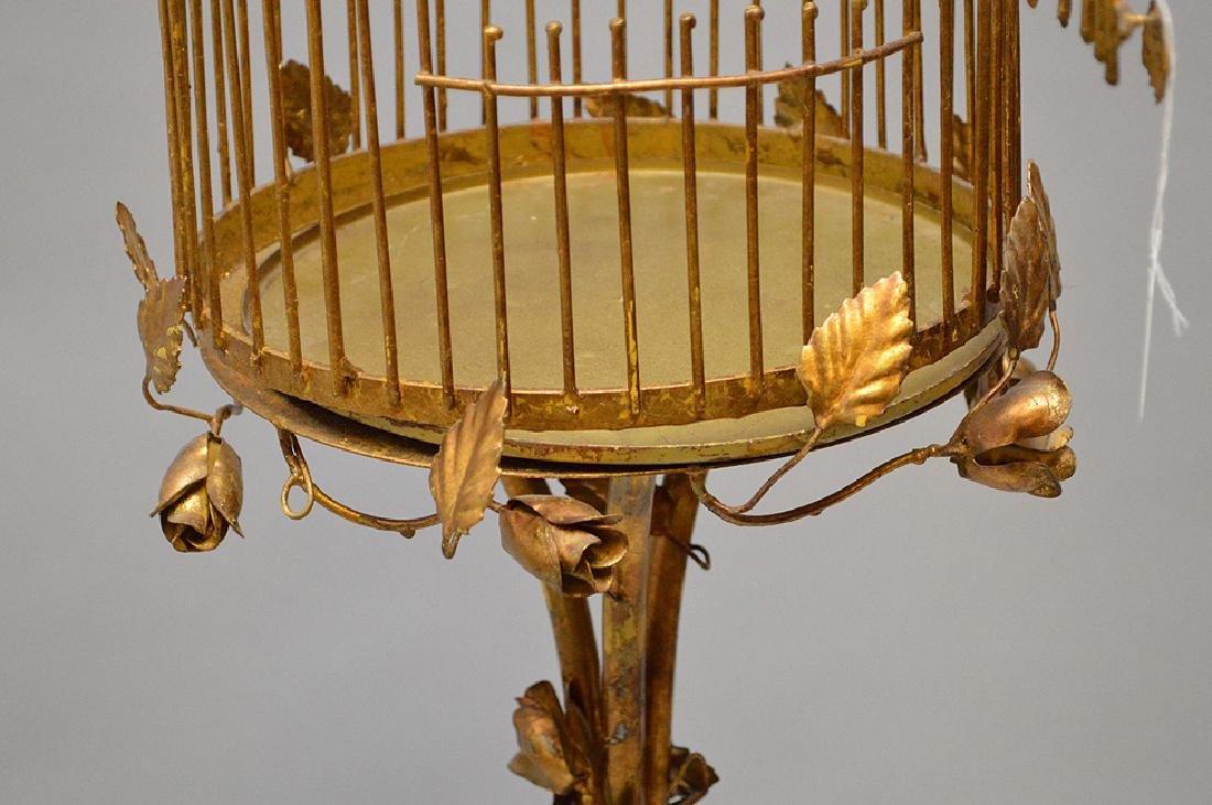"Gilded metal ""Hollywood Regency"" standing birdcage, - 6"