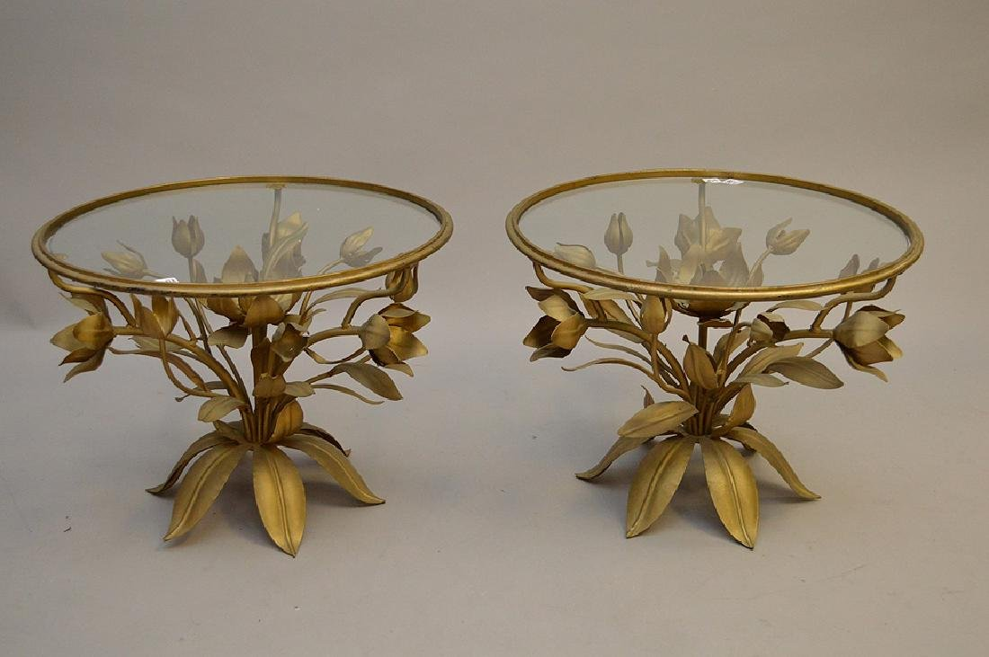 Pair gilded metal leaf form side tables with glass