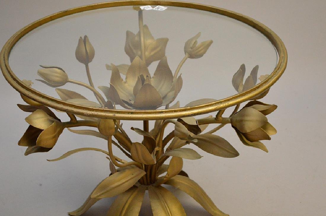 Pair gilded metal leaf form side tables with glass - 2