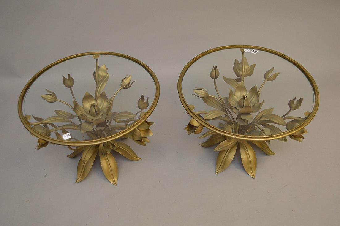Pair gilded metal leaf form side tables with glass - 3