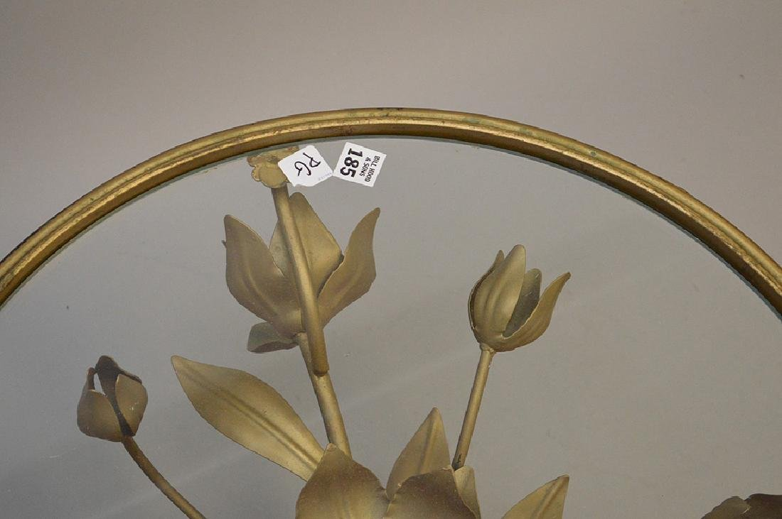 Pair gilded metal leaf form side tables with glass - 4