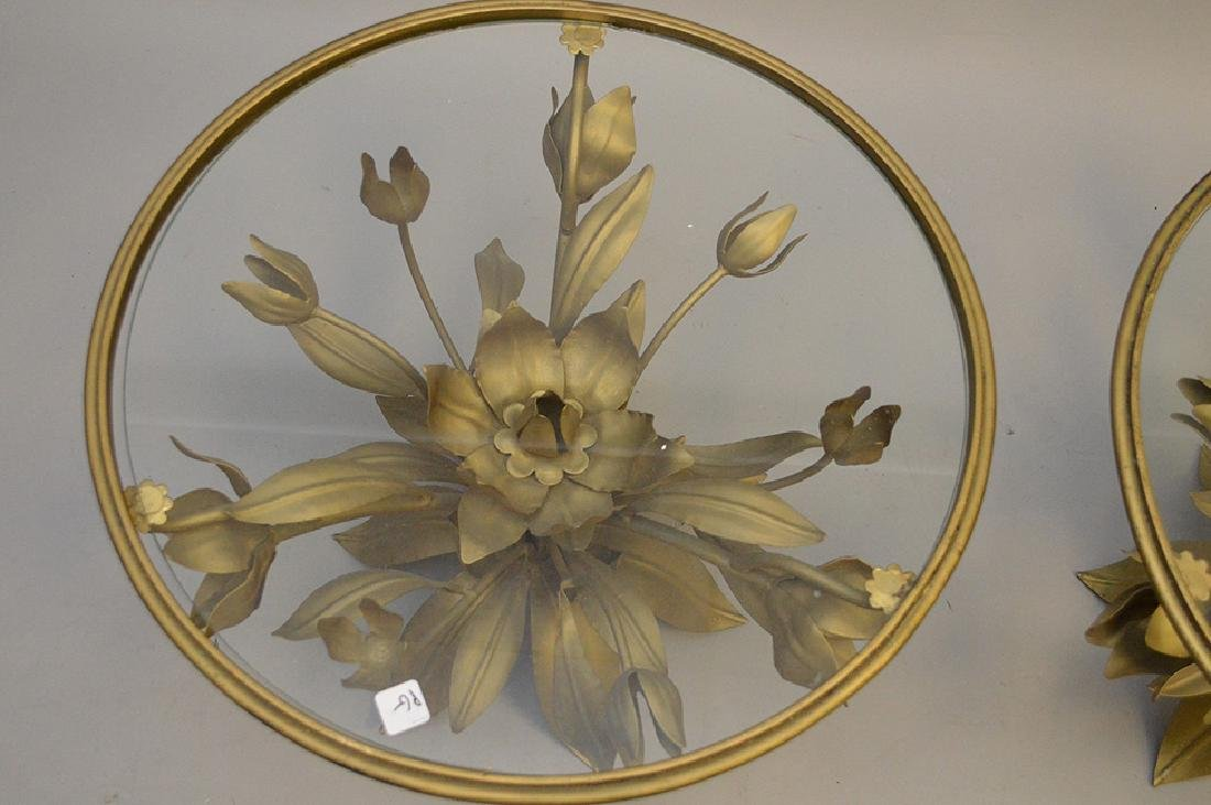 Pair gilded metal leaf form side tables with glass - 5