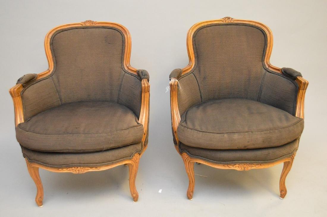 Pair brown upholstered ladies bergeres