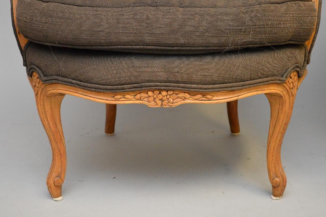 Pair brown upholstered ladies bergeres - 2