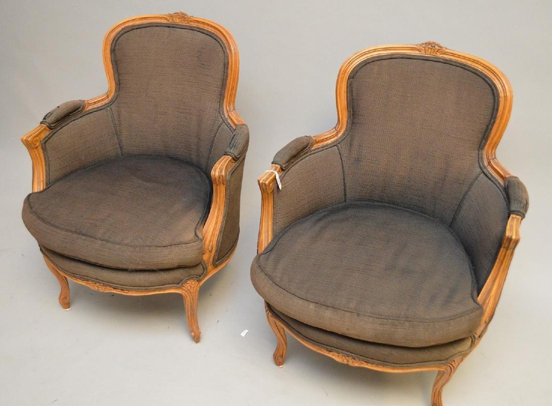 Pair brown upholstered ladies bergeres - 3