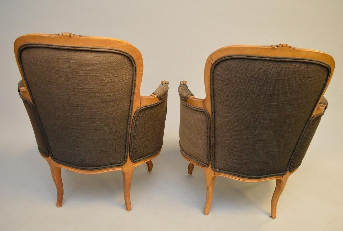 Pair brown upholstered ladies bergeres - 4
