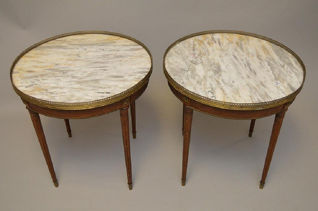 Pair of marble top occasional tables with pierced brass - 2