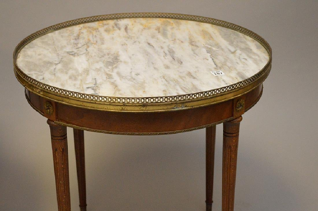 Pair of marble top occasional tables with pierced brass - 3