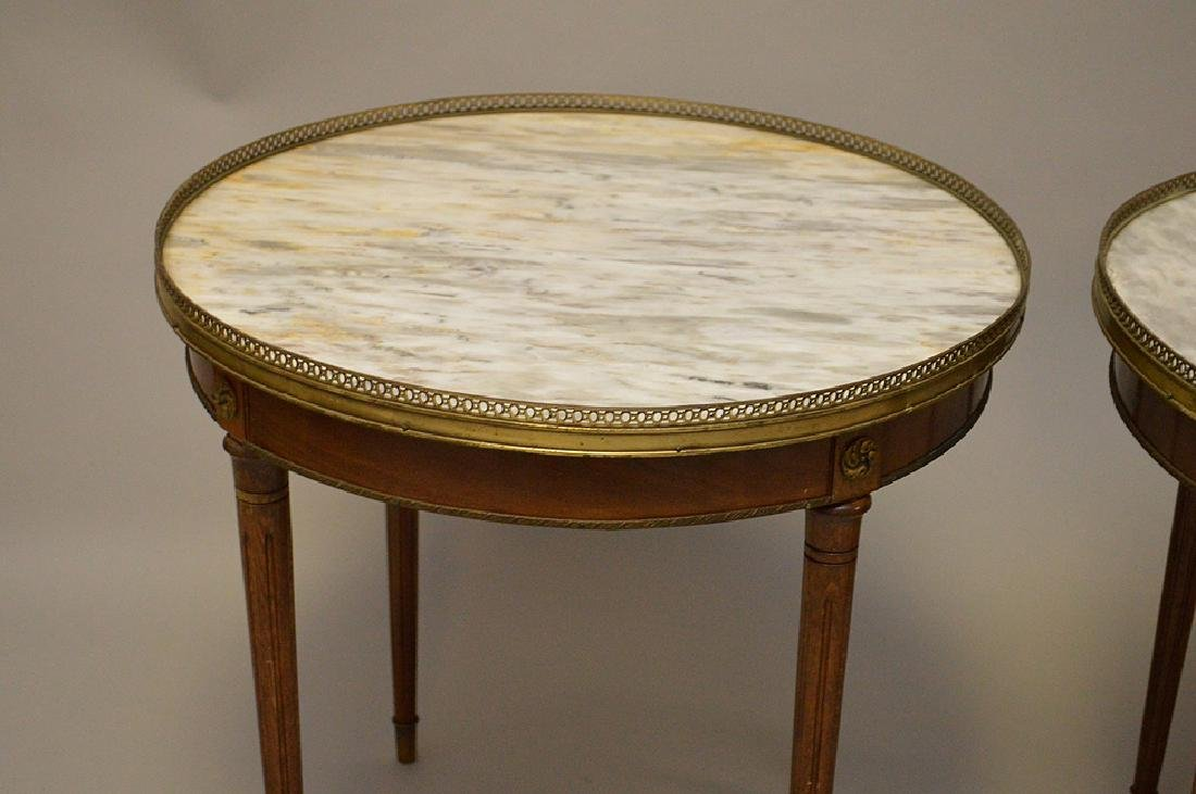 Pair of marble top occasional tables with pierced brass - 4