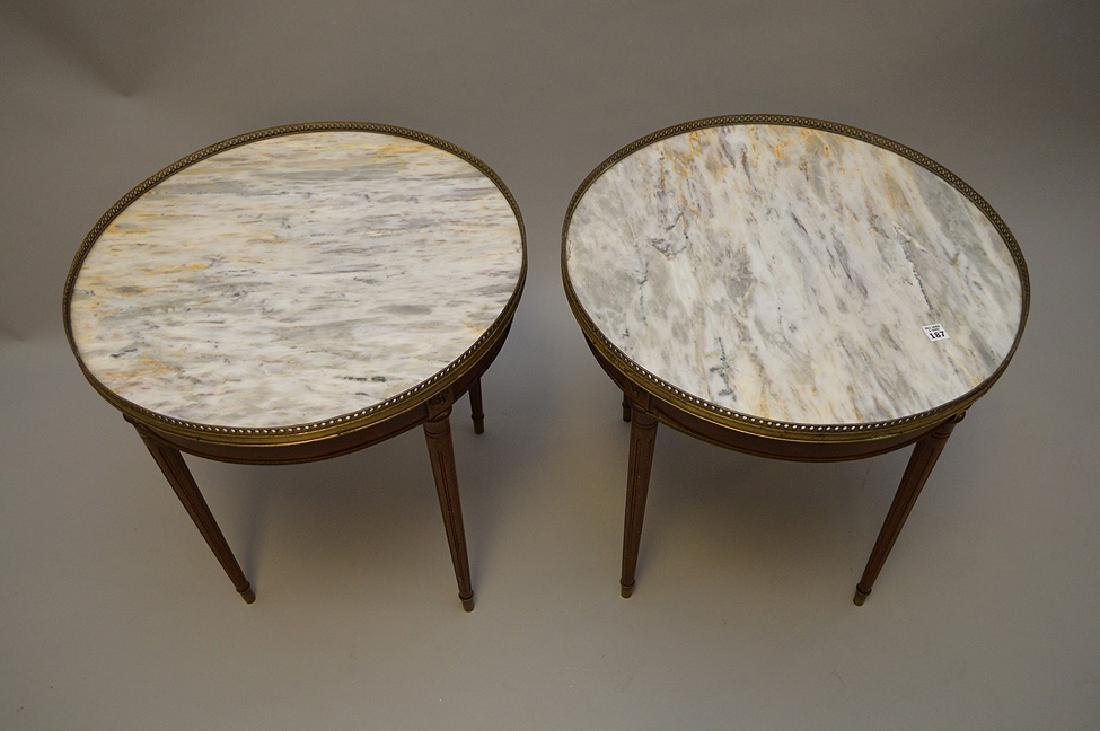 Pair of marble top occasional tables with pierced brass - 5