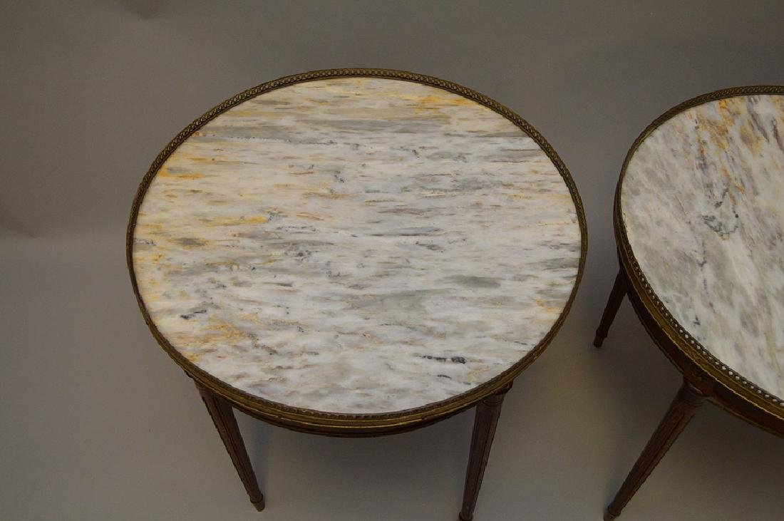 Pair of marble top occasional tables with pierced brass - 6
