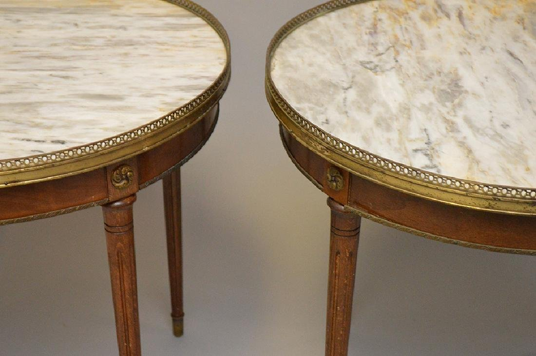 Pair of marble top occasional tables with pierced brass - 7
