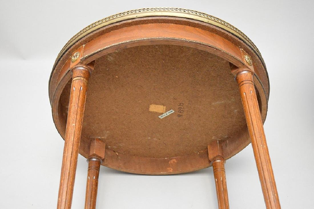 Pair of marble top occasional tables with pierced brass - 9
