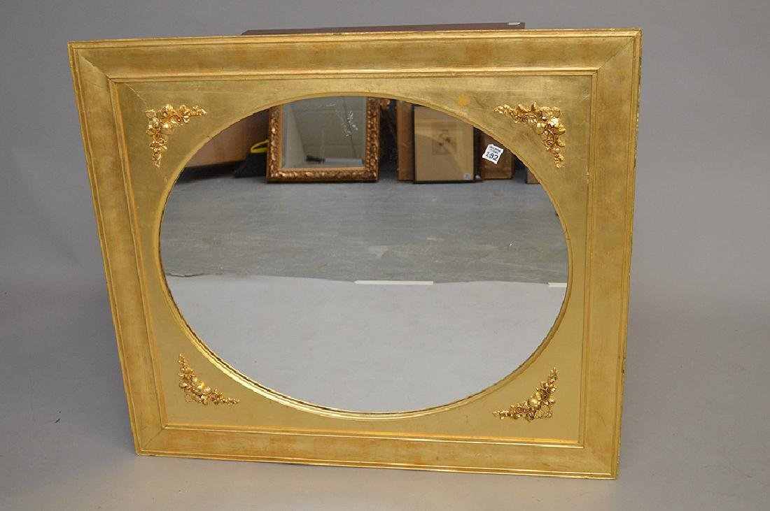 Giltwood framed mirror with 4 floral corners, 32 x