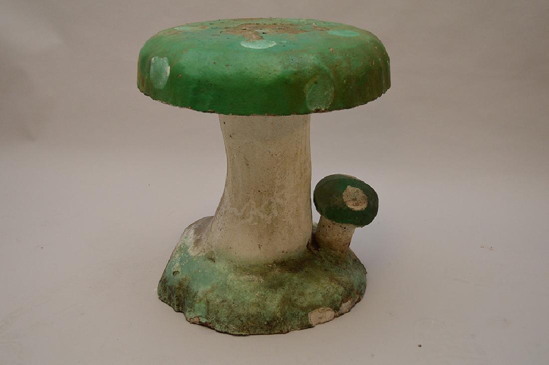 """Cement vintage garden mushroom, 17""""h x 14""""w"""