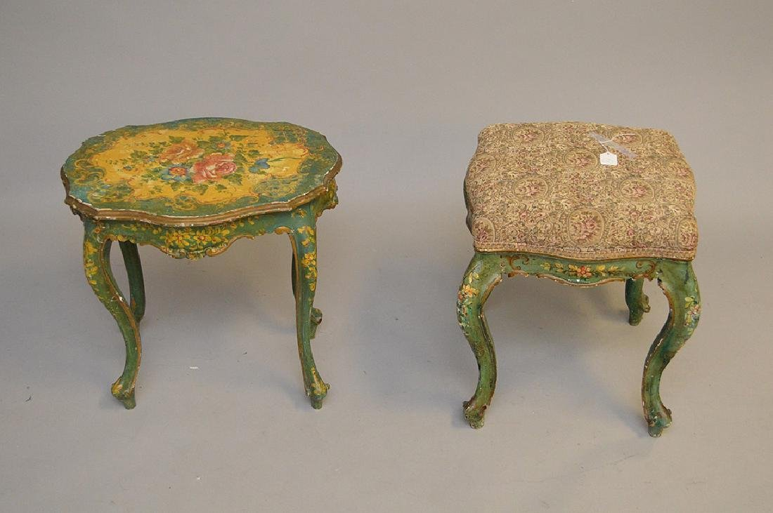 2 Venetian painted bench and table