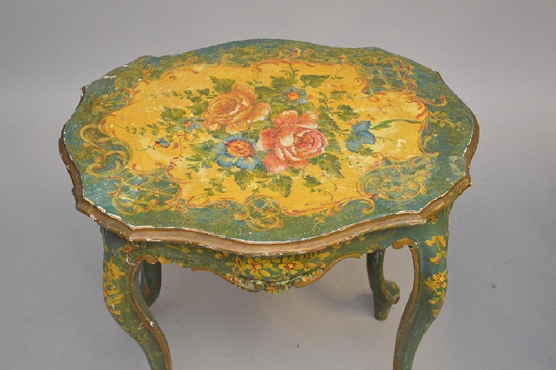 2 Venetian painted bench and table - 2