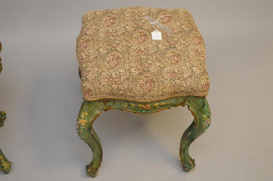 2 Venetian painted bench and table - 3