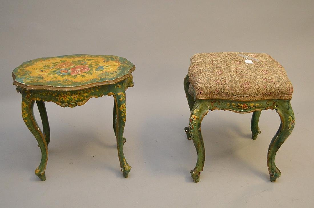 2 Venetian painted bench and table - 4