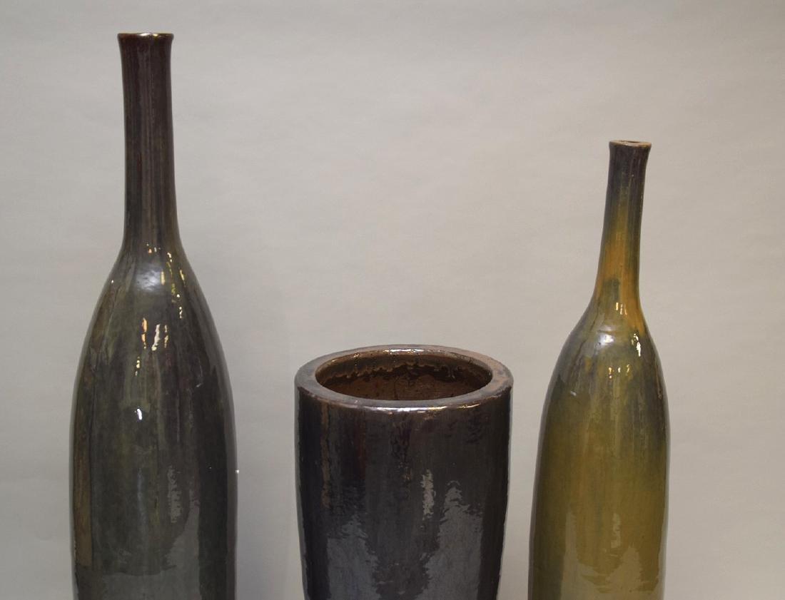 "3 large glazed ceramic decorative vessels, 35""h, 51""h - 2"