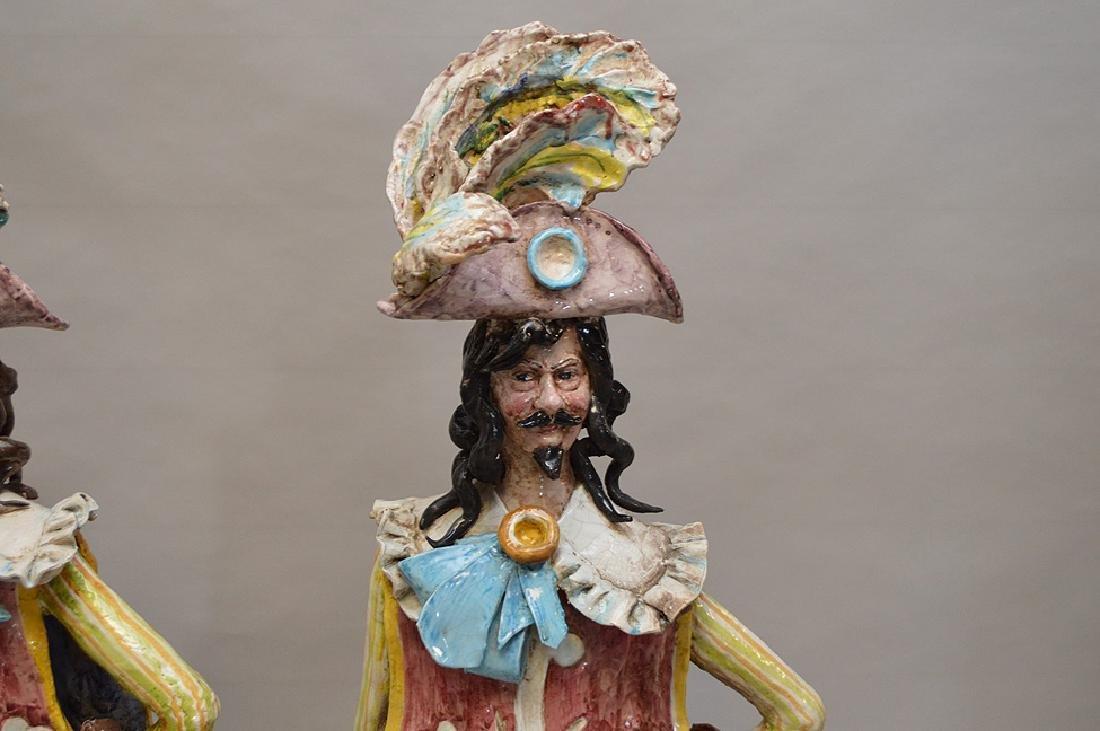 "Pair of ceramic Italian Musketeers, 49""h x 17""w - 3"