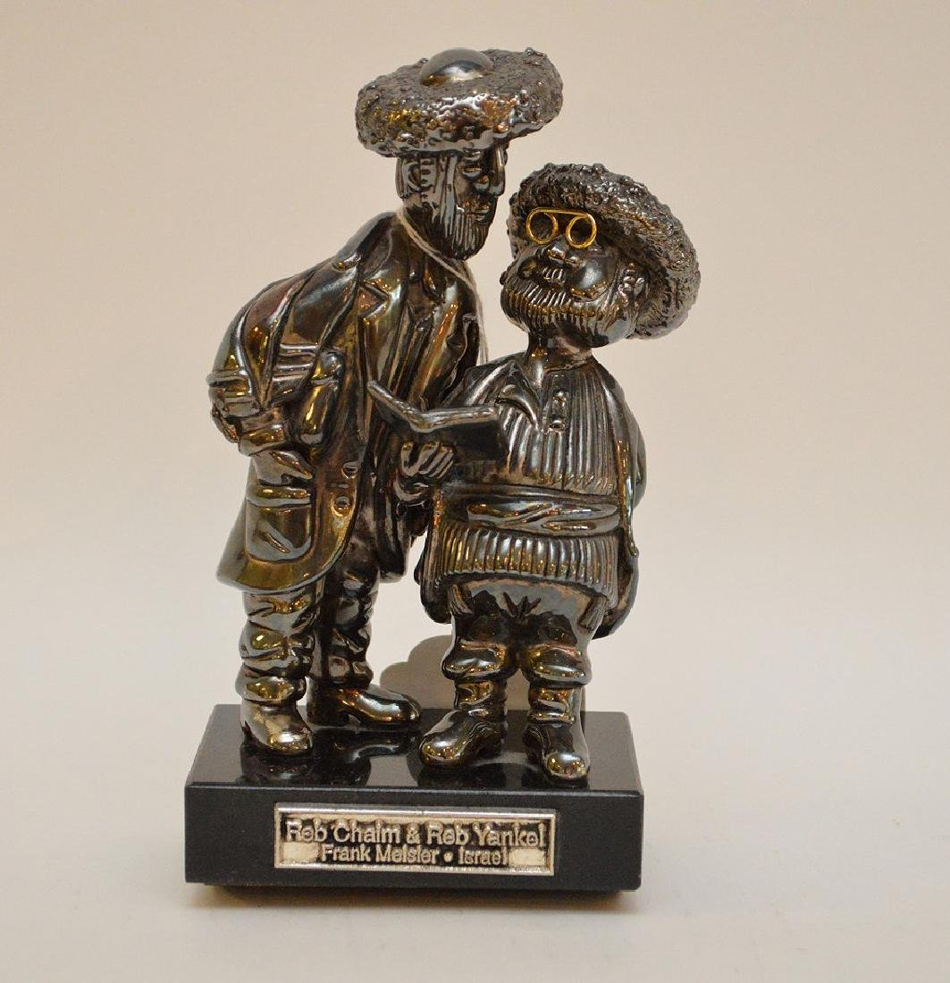 Sterling and gold sculpture of 2 Rabbis, Reb Chaim &