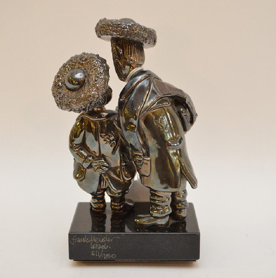 Sterling and gold sculpture of 2 Rabbis, Reb Chaim & - 3