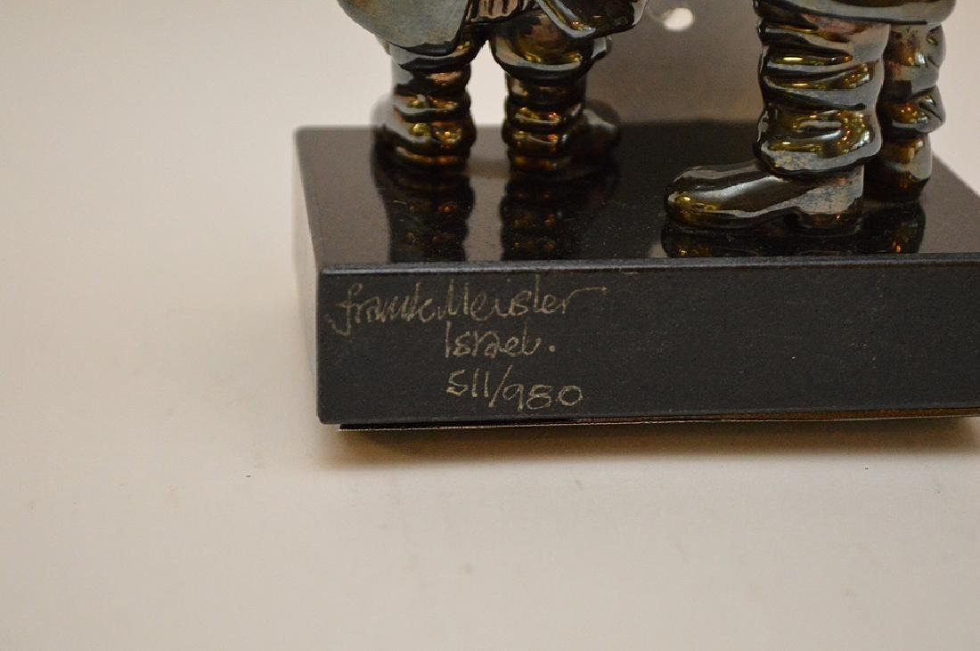 Sterling and gold sculpture of 2 Rabbis, Reb Chaim & - 4