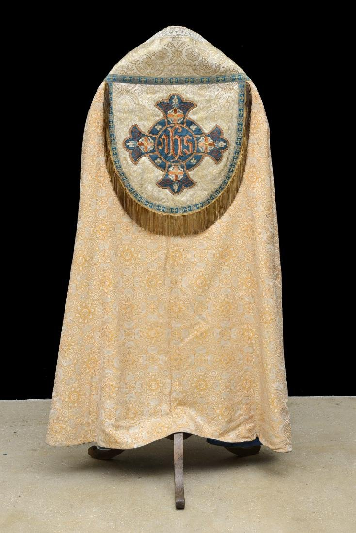 """Antique French Liturgical Vestment """"Pluviale"""" or Cope. - 2"""