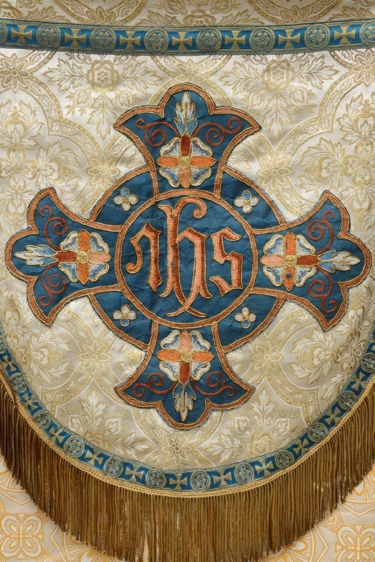 """Antique French Liturgical Vestment """"Pluviale"""" or Cope. - 4"""