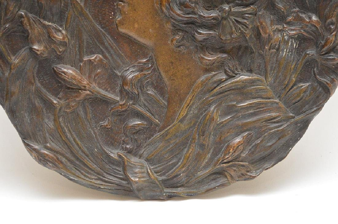 Art Nouveau terracotta plaque, woman surrounded by - 3