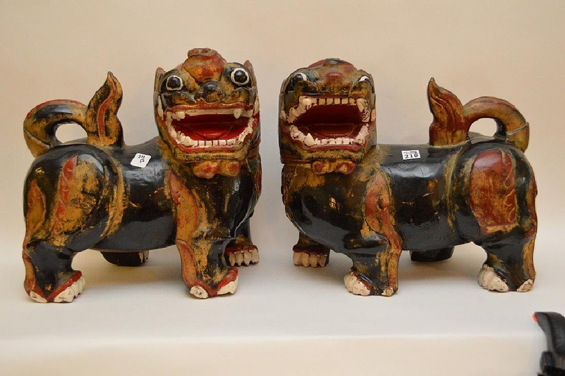 Fine Pair of Large Chinese Foo Dog-Lions. Carved out of