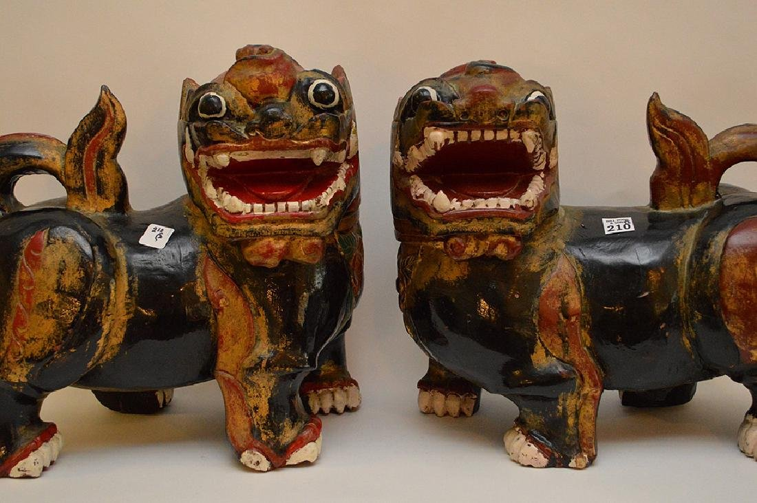 Fine Pair of Large Chinese Foo Dog-Lions. Carved out of - 2