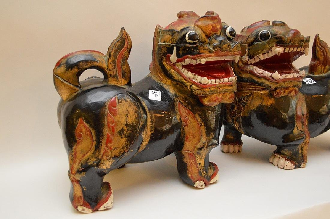 Fine Pair of Large Chinese Foo Dog-Lions. Carved out of - 4