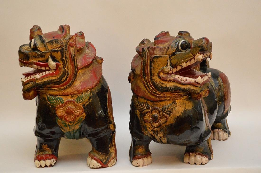 Fine Pair of Large Chinese Foo Dog-Lions. Carved out of - 5
