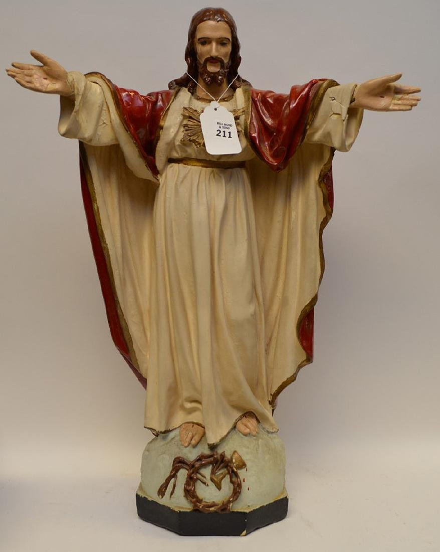 Large Antique Italian Heart of Jesus with detached