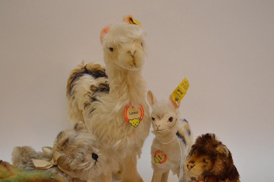 Lot of 5 Steiff German animals, 2 Llamas, Leo lion with - 2