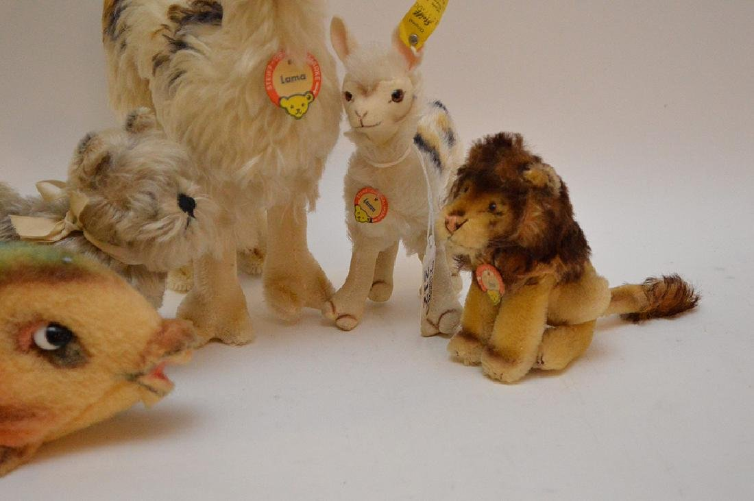 Lot of 5 Steiff German animals, 2 Llamas, Leo lion with - 3