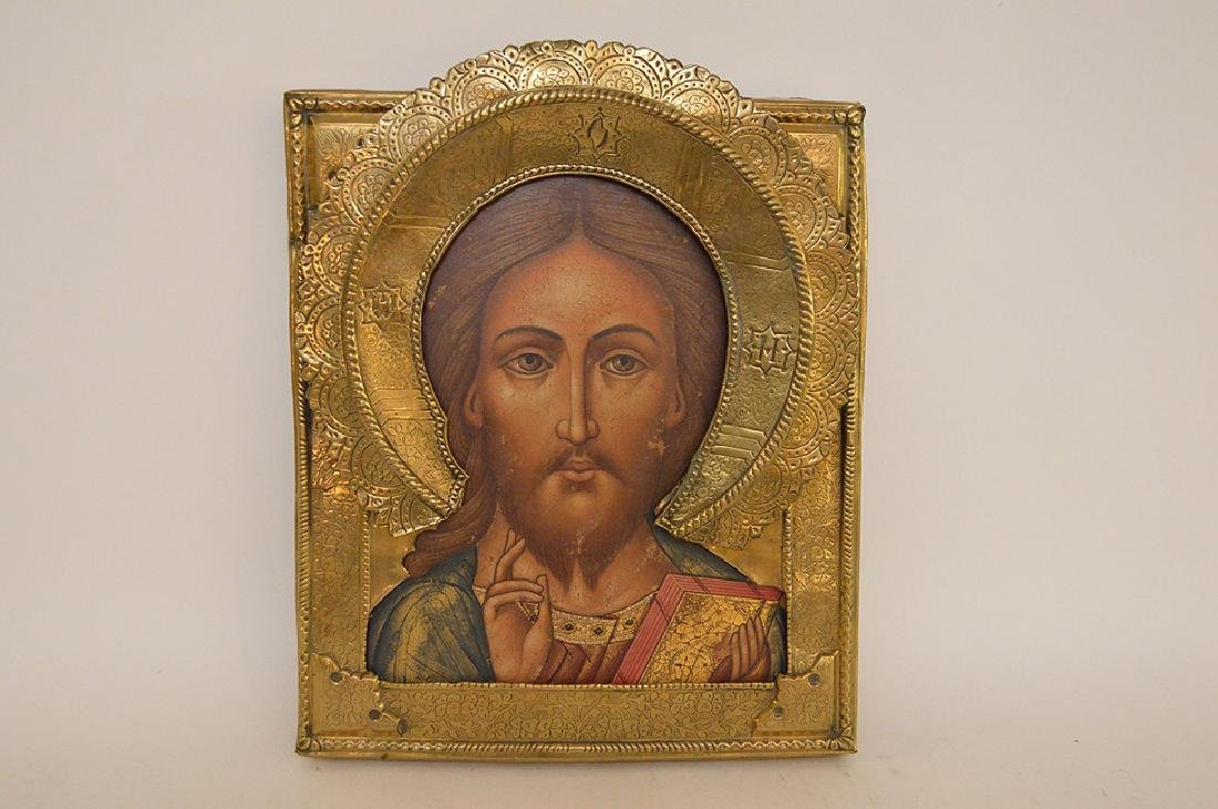 19th Century Russian painted Icon with metal