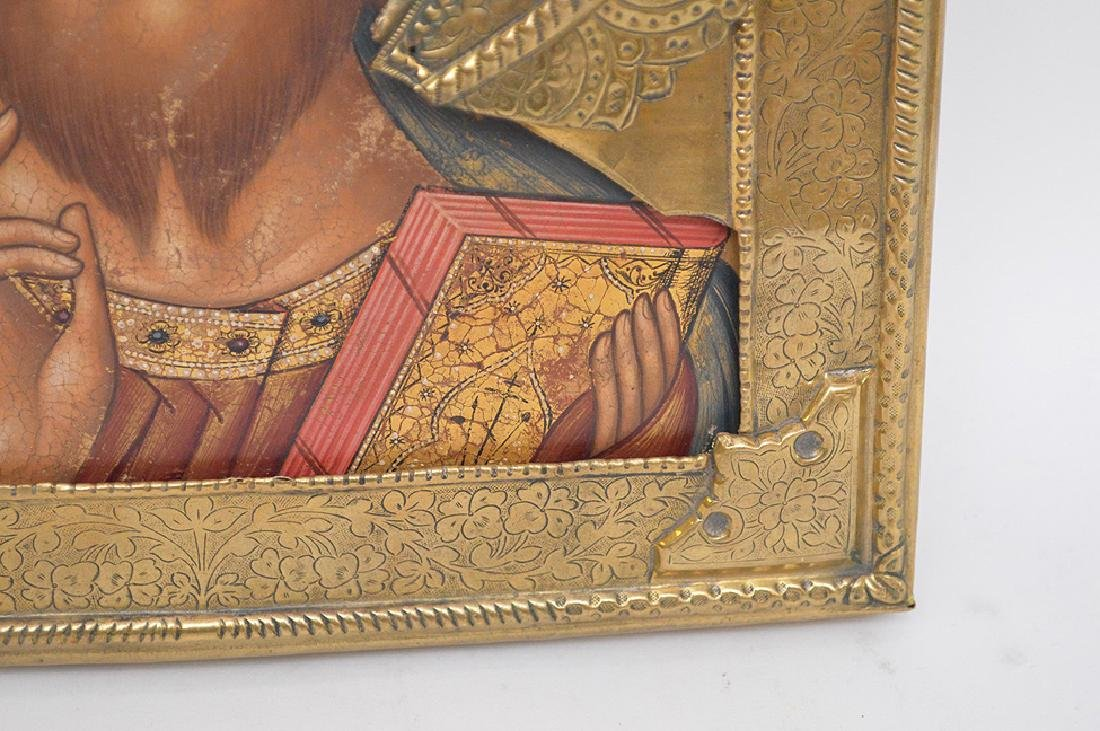 19th Century Russian painted Icon with metal - 6