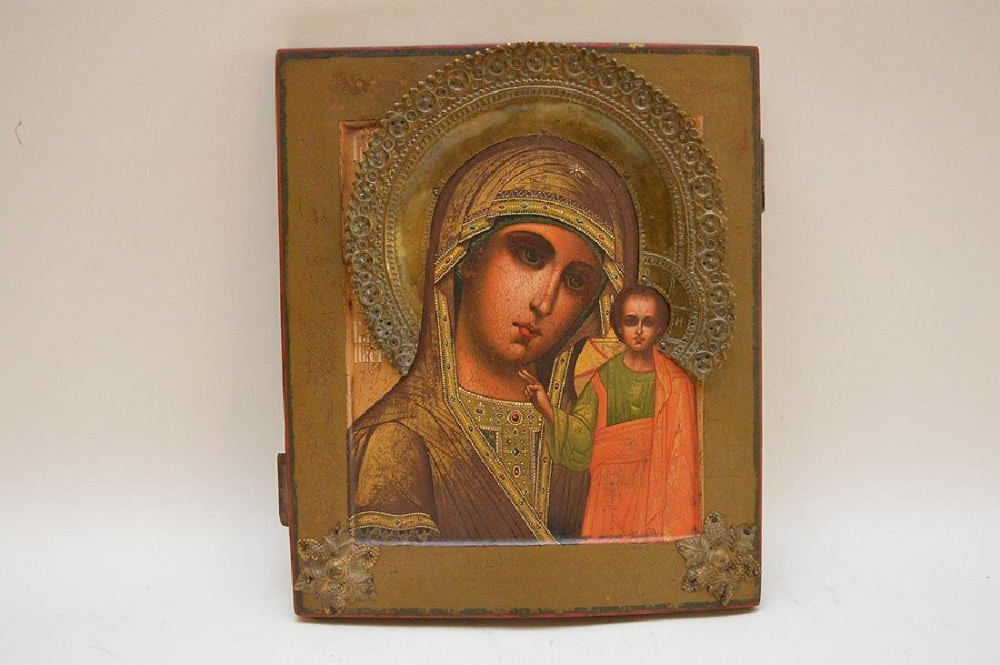 19th Century Russian painted Icon, Mary & Christ Child
